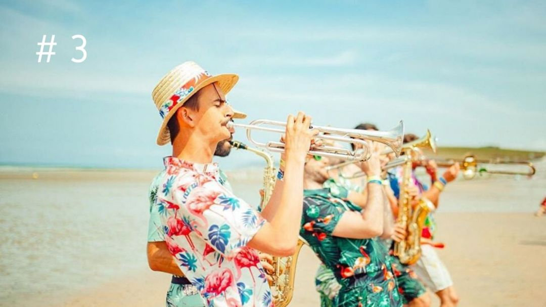 Music band on the beach